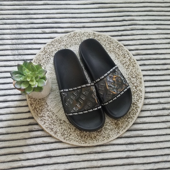 69c9b4591805a Victoria's Secret Pink Black Clear Slide Sandals L
